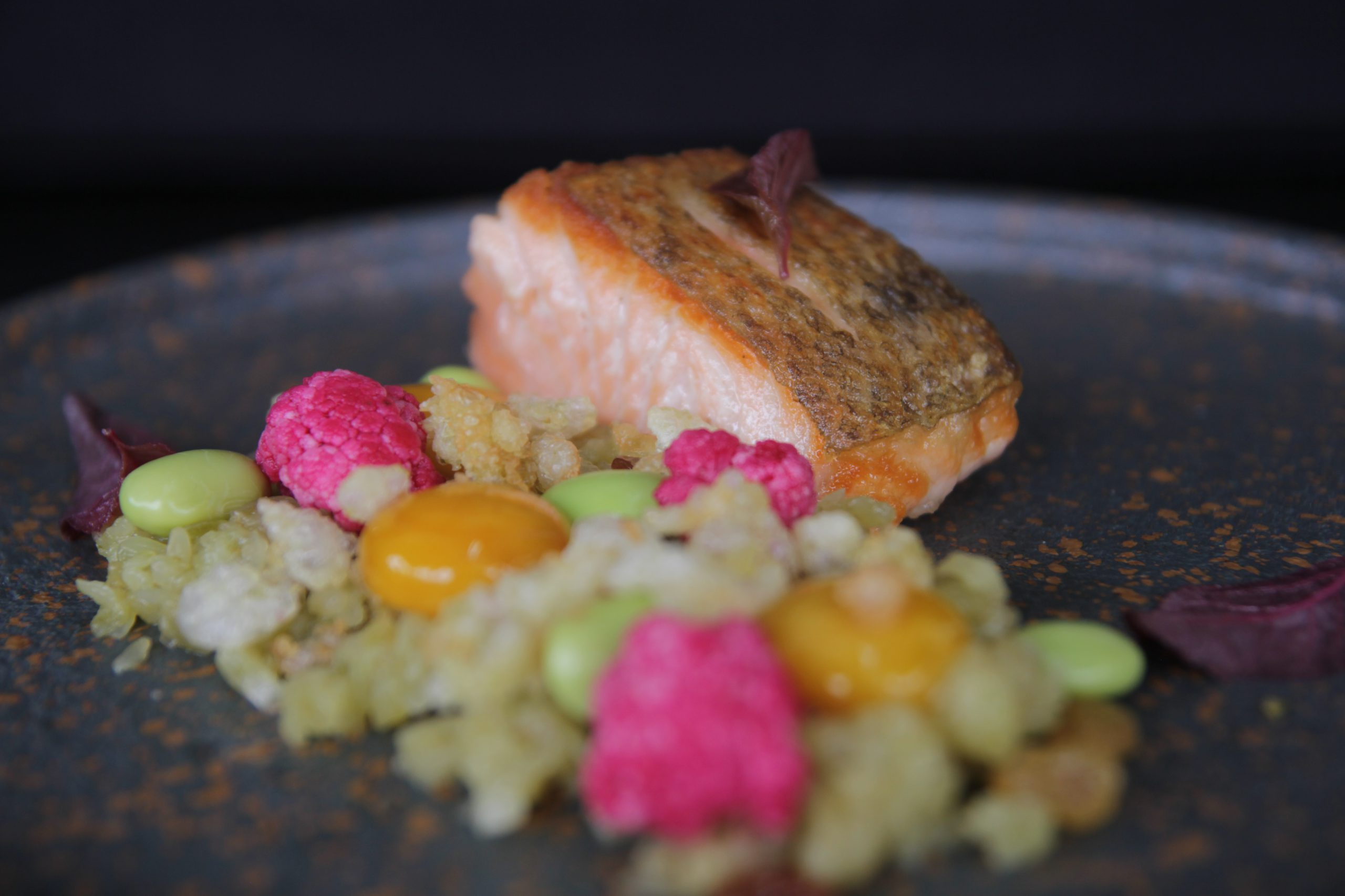Grilled salmon. Young rice. Marinated egg. Pickled cauliflower.